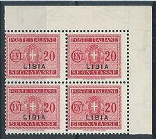 1934 LIBIA SEGNATASSE 20 CENT QUARTINA MNH ** - RR13022