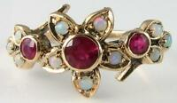 DIVINE 9K 9CT GOLD INDIAN RUBY & OPAL FLOWER ART DECO INS RING FREE RESIZE