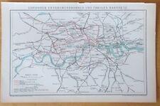 Detailed Map of London Railway Subway - 1890