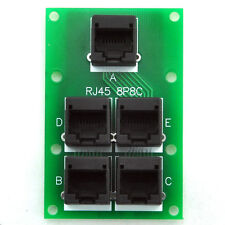 RJ45 8P8C Splitter Board, 5 Jacks Connector, Buss Board.