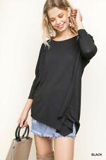 Umgee Black Asymmetrical Hem Long Sleeve Tunic Top SML + Plus Size