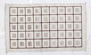 Ashikavin Woolen Kilim (Ivory/Brown,3 X 5 ft)