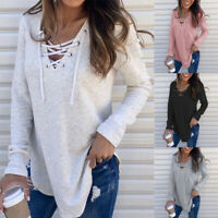 Women V Neck Long Sleeve T Shirt Criss Cross Blouse Loose Drawstring Tops