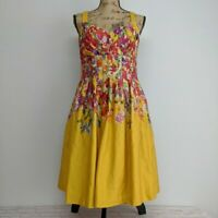 Evan Picone Dress Size 10 Yellow Sweetheart Lined Sleeveless Fit Flare Floral