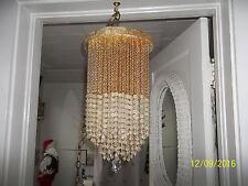 "Vntg. Prism Chandelier Hanging Ceiling Light Lamp 15"" Beaded Plastic Crystals"
