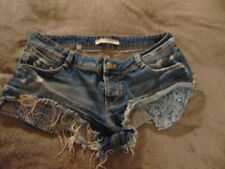Zara Trafaluc Denim Makers Distressed Blue Shorts Sz 6 Booty Shorts Pre-owned