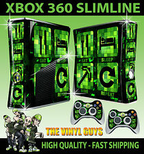 XBOX 360 SLIM Adesivo EAT SLEEP MINE ripetere Minecraft stile SKIN e 2 x Pad Pelle