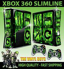 XBOX 360 SLIM STICKER  EAT SLEEP MINE REPEAT MINECRAFT STYLE SKIN & 2 X PAD SKIN