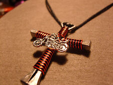 Twisted Black and orange Handmade Cross Necklace with motorcycle charm
