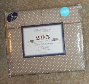 Hotel Palazzo Medium Brown w/ white Cotton Rich Sateen 6 Pc Queen Sheet Set NWT