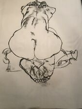FINE ART ORIGINAL NUDE BACKSIDE CHARCOAL DRAWING by PAUL WAGENER (AMERICAN 1918-