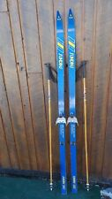 "Vintage Wooden 70"" Long Skis with Blue Finish Signed SUNDINS + Poles"