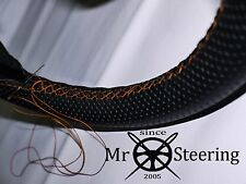 FOR AUSTIN MINI 1275 GT PERFORATED LEATHER STEERING WHEEL COVER ORANGE DOUBLE ST