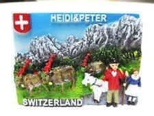 Heidi & Peter Berge Kühe Schweiz Poly Magnet Souvenir Switzerland