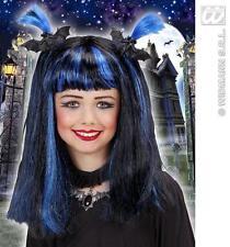 Enfants Noir Long Bleu Perruque Avec chauves-souris sorcière Halloween robe fantaisie