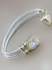 Two Tone Cuff Bracelet w Square CZ Clear Stones