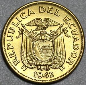 1942 Ecuador 20 Centavos GEM BU Brass Coin (21030701R)