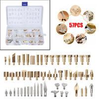 56pcs Soldering Iron Pen Wood Burning Tool Craft Pyrography Kit Brass Tips