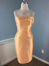 TOCCA XS 2 Anthropologie Orange check strapless Cocktail Party Dress EUC SILK