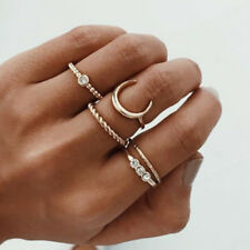 5Pcs/Set Crystal Gold Stackable Ring Moon Charm Twist Rings Vintage Boho Jewelry