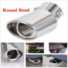 1X Round Bend Universal Car Stainless Steel Chrome Exhaust Tail Muffler Tip Pipe