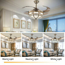 Black Tiffany Style Ceiling Fans with Lights and Retractable Blades Dark