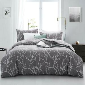 All Size Bed Quilt Duvet Doona Cover Set 100% Cotton Bedding Pillowcase Grey