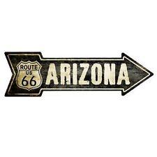 "Outdoor Decor Vintage Route 66 Arizona Novelty Metal Arrow Sign 5"" x 17"""