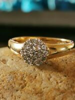 Vintage 18ct Yellow Gold Diamond Round Cluster Ring Size M1/2