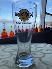 """Hard Rock Cafe Beer Glass Pilsner MAKATI Philippines 20 oz. 8 1/4"""" tall"""
