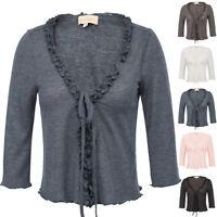 New Womens Ruffled Lace Shrug Knitted Bolero Shrug Crochet Cardigan Cropped Tops