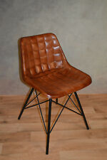 Industrial Eiffel Eames Style  100% Brown Leather Dining Chair
