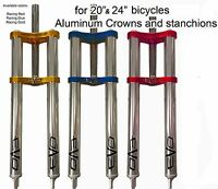 Bmx Double Crown Triple Tree Fork Aluminum Stanchions 1-1/8 Steerer tube RED