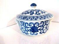 Vintage Asian Blue White Porcelain Flower Rice Soup Casserole Bowl w Lid