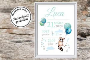 Wandbild - personalisiertes Geschenk für Baby zur Taufe oder Geburt Kind Junge