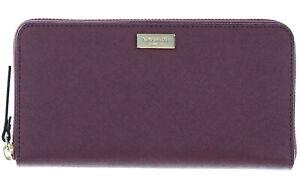 New Kate Spade Neda Laurel Burgundy Leather Wallet ZipAround WLRU2669 $189 MSRP