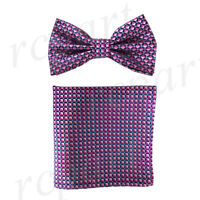 New Men's micro fiber Pre-tied Bow tie & hankie pink blue checkers formal
