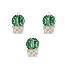 18pcs Enamel Alloy Silver Green Ball Cactus Look Pendants Charms Accessory 53283