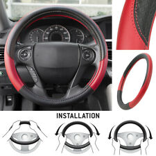 Motor Trend Maxgrip PU Leather Steering Wheel Cover for Car Truck SUV Black/ Red