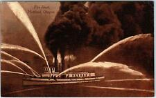 PORTLAND, OR  Oregon      FIRE BOAT   Spraying Water     c1910s  Sepia  Postcard