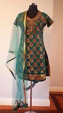 Teal Blue Green Gold Anarkali Indian ChuridarPakistani Bridal Wedding Dress