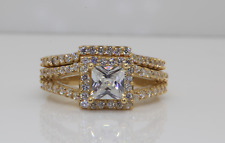 3CT SOLITAIRE ENGAGEMENT BRILLIANT PRINCESS CUT RING SOLID 14K YELLOW GOLD