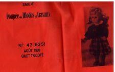 ▬► PATRON Poupée modèle Couture Tricot - Émilie Gilet N°64.6234 1988