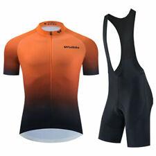 Jersey Manga 2020 para Hombre Ciclismo mono Pantalones Cortos Set Bicicleta Camisa Pad Calzas conjuntos de Naranja