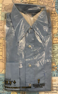 VTG Mens Dress Shirt 15-32 Medium Pale Blue 1970s Ely Cotton Blend Button Up NOS