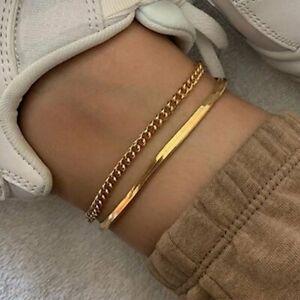 2pcs/set Summer Gold Snake Chain Anklets Women Bracelet Foot Beach Holiday Hot