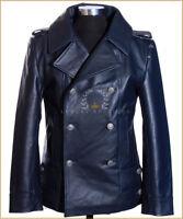 German Naval Navy Blue Men's Military WW2 Real Cowhide Leather Jacket Pea Coat