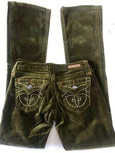 NWT Women's ROCK REVIVAL SLIM Flared VELVET Flap pockets Jeans GREEN SZ:23-31