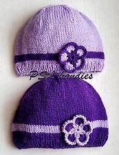 Hand Crochet Knit Cap Kids Girls 6-12 months Flower Warm Soft Baby Toddler Hat