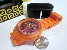 Unisex watch Airwalk big wristwatch tone Neon Orange Plastic Band light NEW
